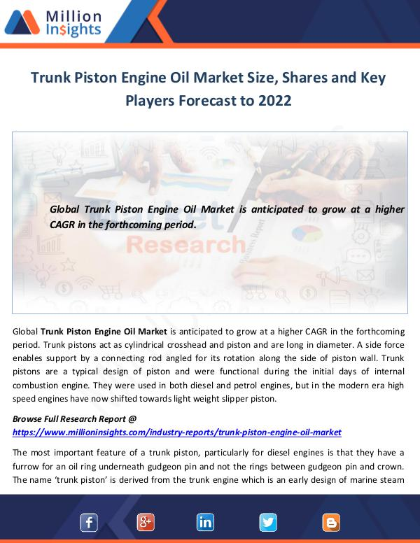 Trunk Piston Engine Oil Market Size
