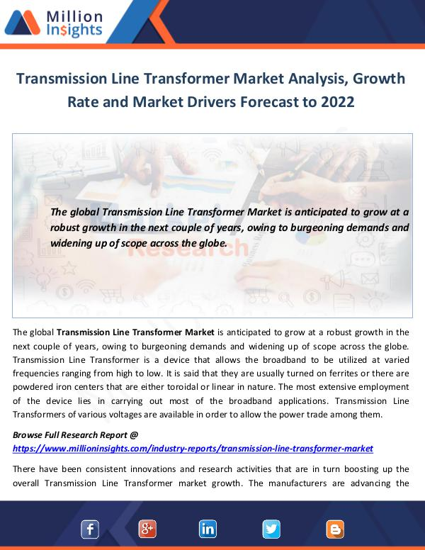 Market World Transmission Line Transformer Market Analysis