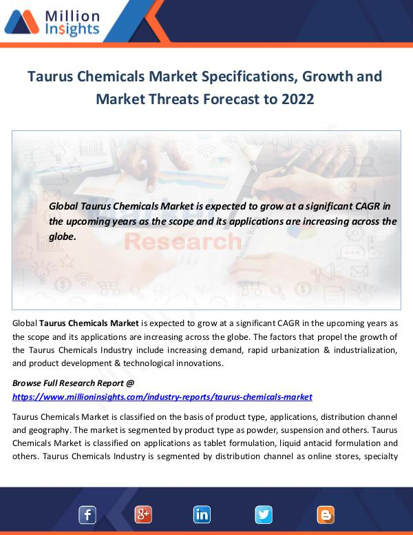 Taurus Chemicals Market Specifications