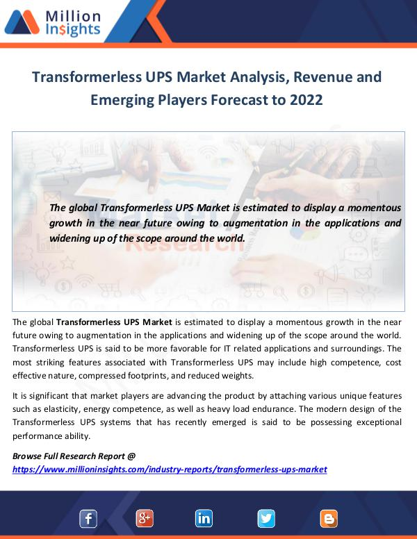 Transformerless UPS Market Analysis