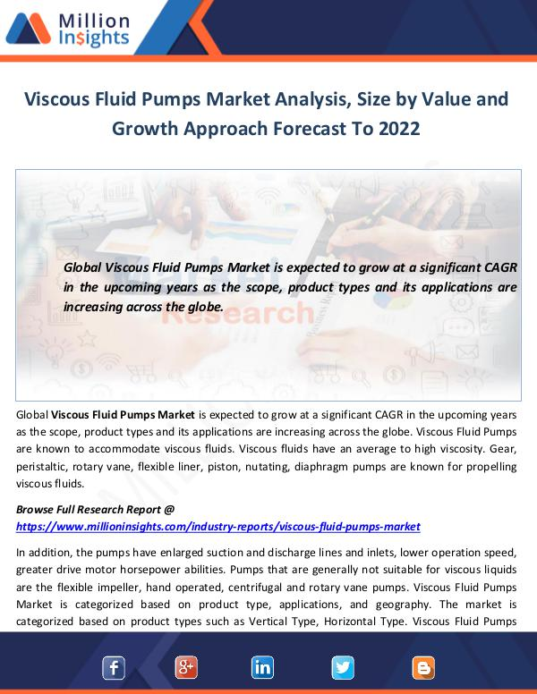 Market World Viscous Fluid Pumps Market Analysis