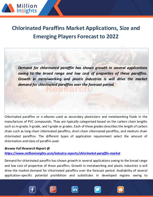 Chlorinated Paraffins Market Applications