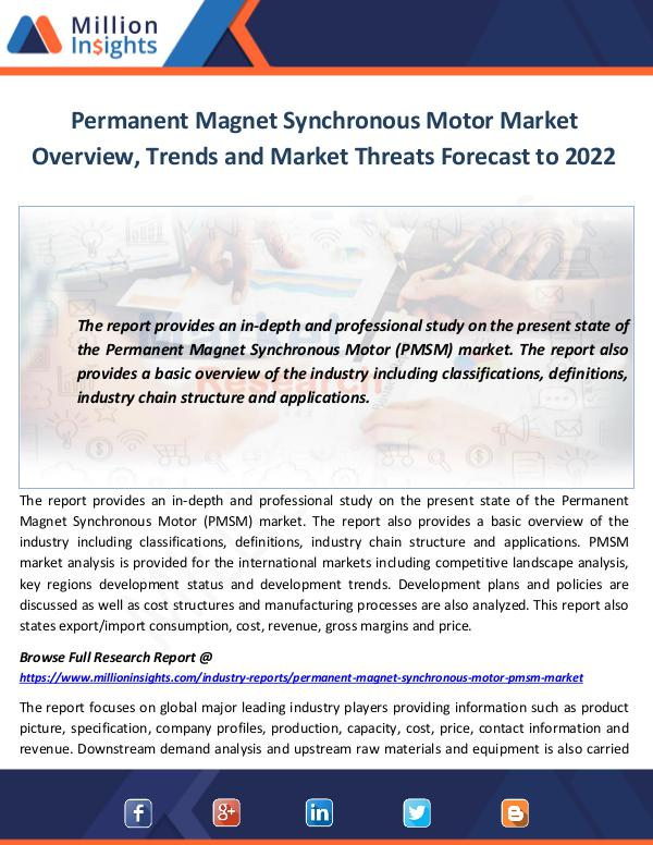 Market World Permanent Magnet Synchronous Motor Market Overview