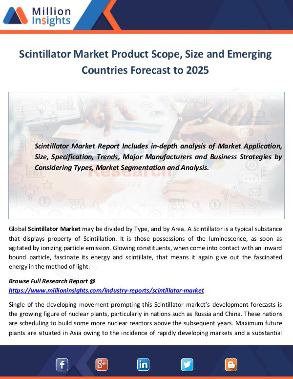 Scintillator Market Product Scope, Size and Emergi