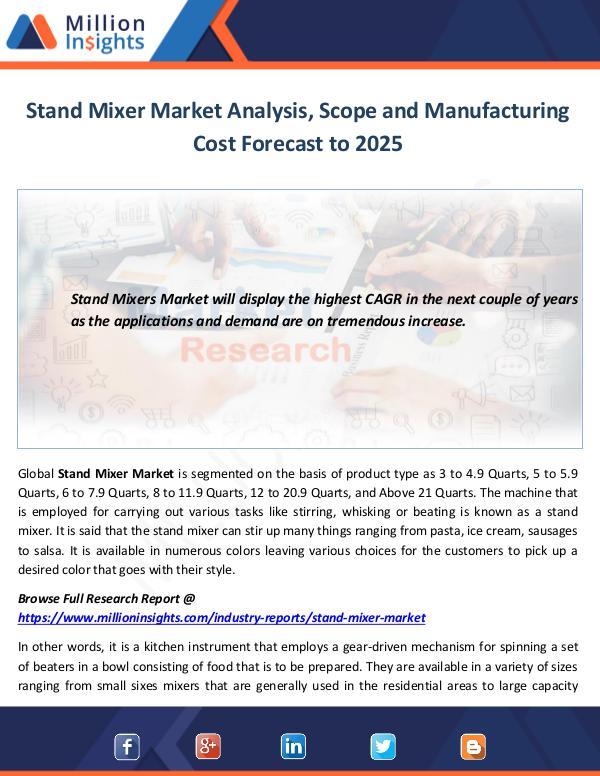 Market World Stand Mixer Market Analysis