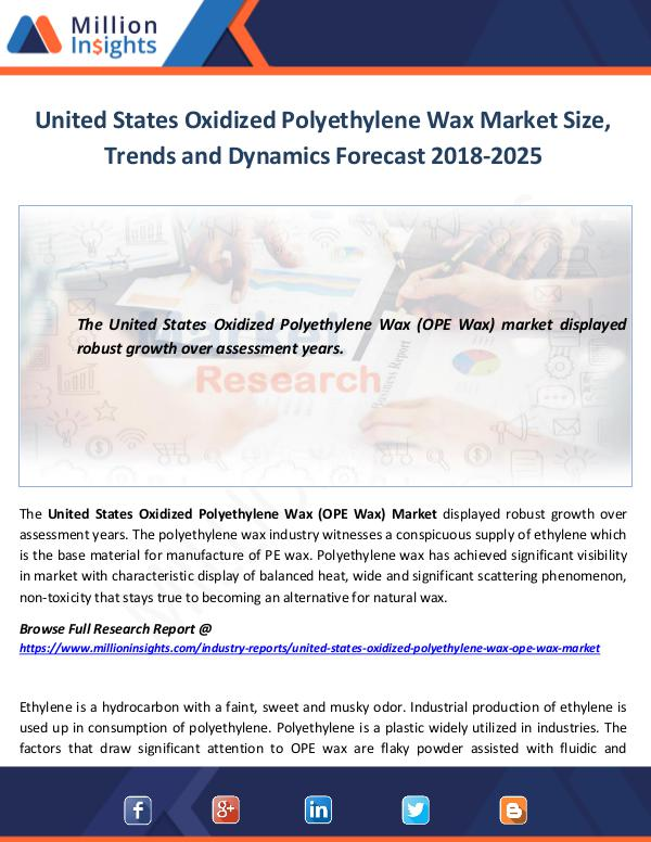 United States Oxidized Polyethylene Wax Market