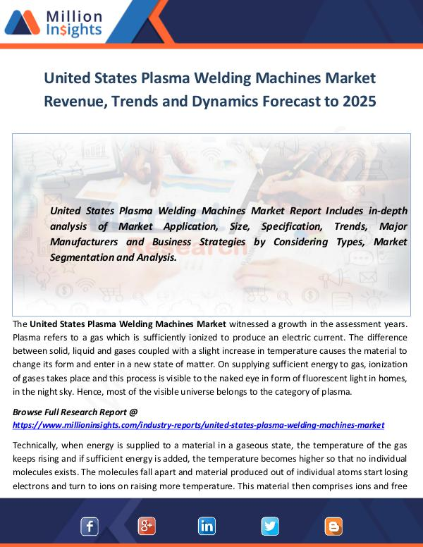 United States Plasma Welding Machines Market