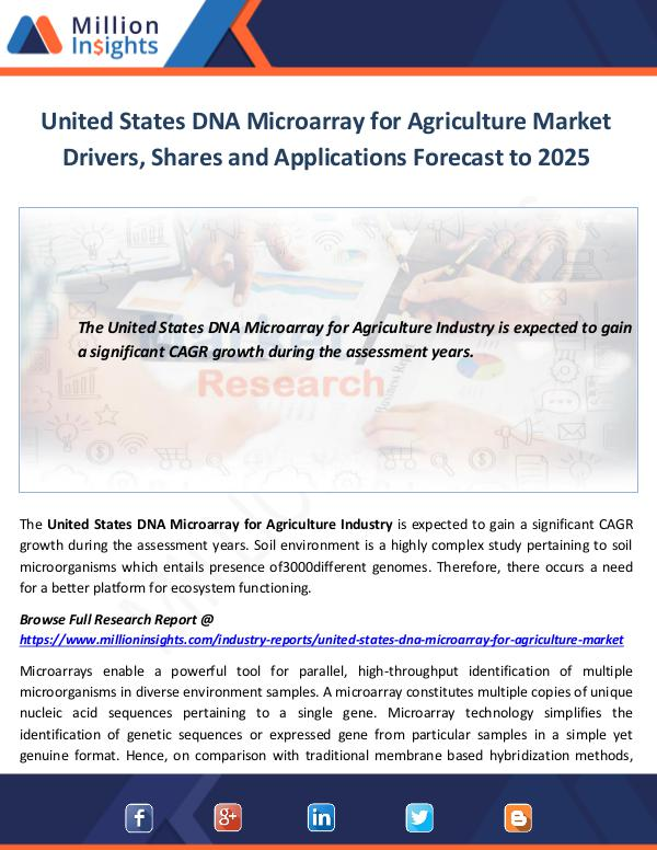 United States DNA Microarray for Agriculture