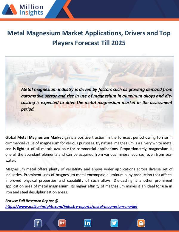 Metal Magnesium Market Applications