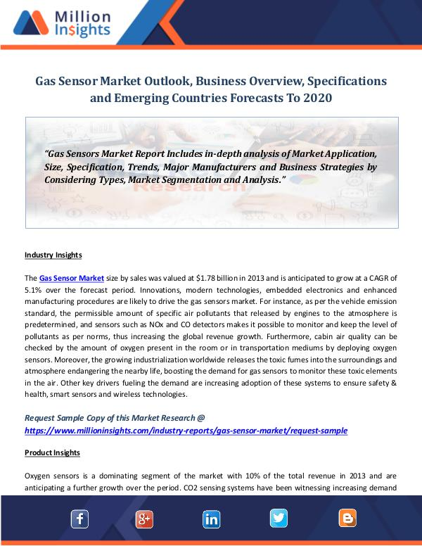 Gas Sensor Market Outlook