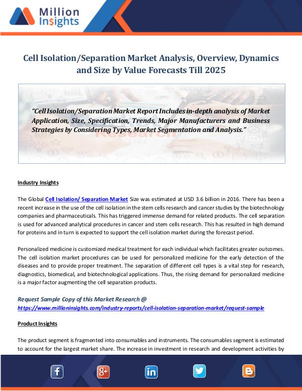Cell Isolation Separation Market Analysis