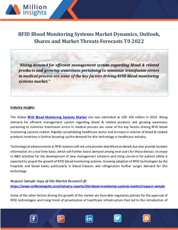 RFID Blood Monitoring Systems Market Dynamics