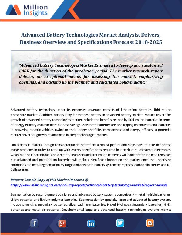 Market World Advanced Battery Technologies Market Analysis