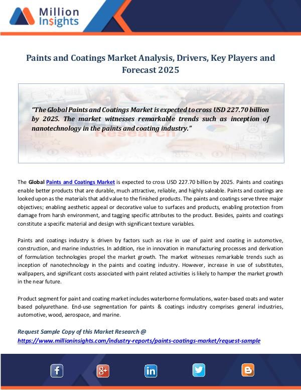 Paints and Coatings Market Analysis
