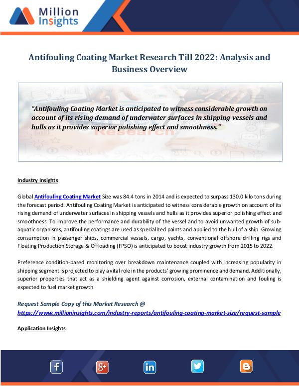 Antifouling Coating Market Research Till 2022