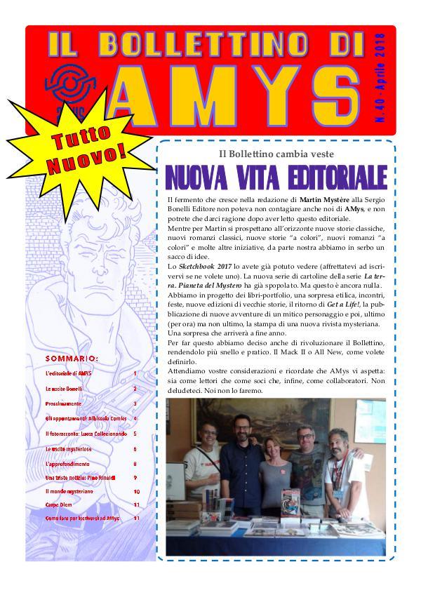 Tutti i Bollettini di AMys IL BOLLETTINO DI AMYS nr. 40-2018