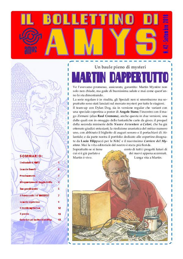 Tutti i Bollettini di AMys IL BOLLETTINO DI AMYS nr. 43-2018