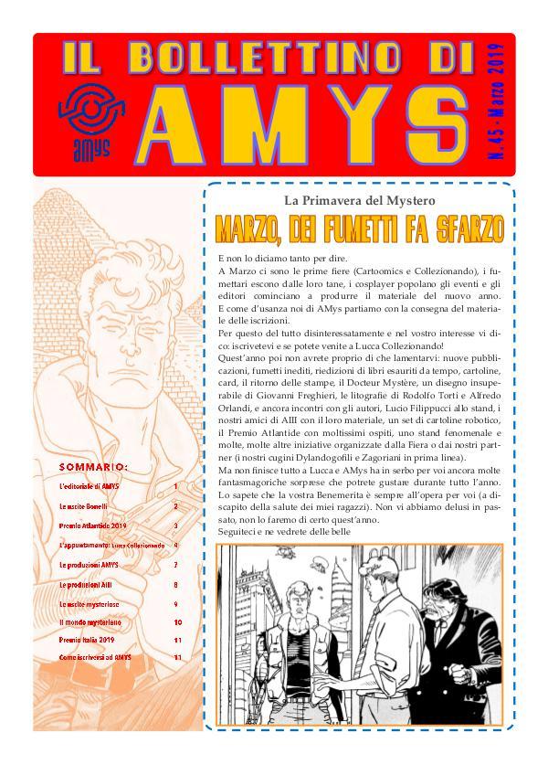 Tutti i Bollettini di AMys IL BOLLETTINO DI AMYS nr. 45-2019
