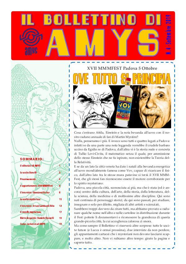 Tutti i Bollettini di AMys IL BOLLETTINO DI AMYS n. 48-2019