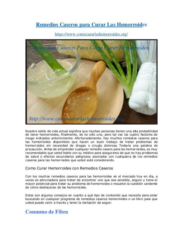 Salud Como Curar las Hemorroides Con Remedios Caseros