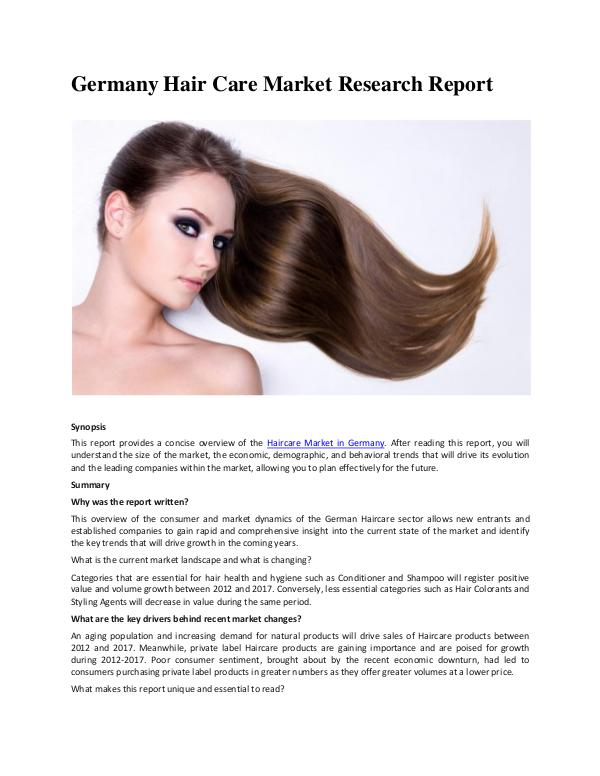 Ken Research - Germany Hair Care Market Trends
