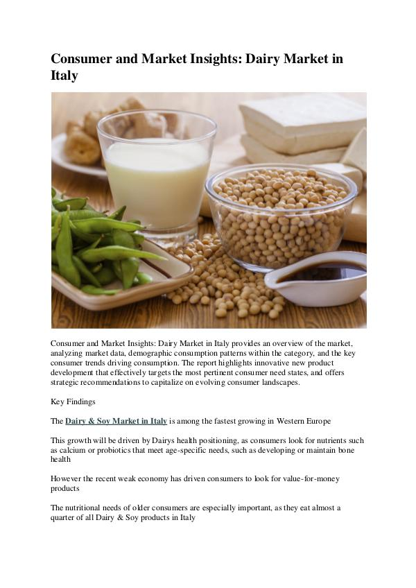 Italy Dairy Market Research Report