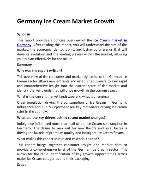 Ken Research - Germany Ice Cream Market Growth