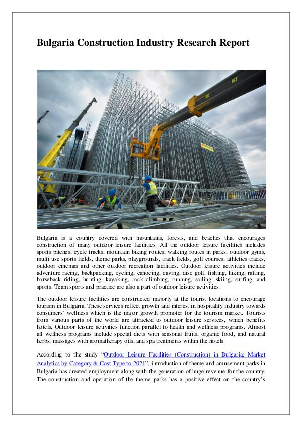 Bulgaria Construction Sector Research Report