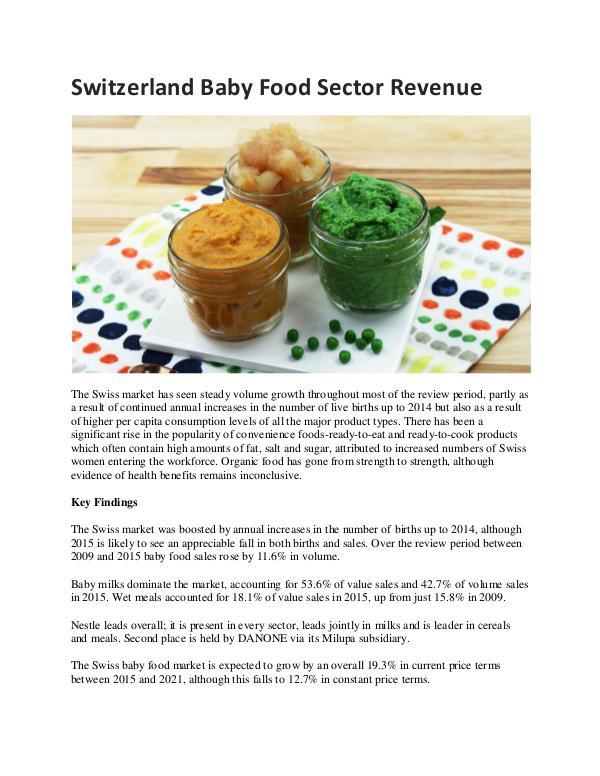 Switzerland Baby Food Sector Revenue