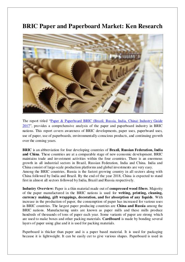 BRIC Paper and Paperboard Market