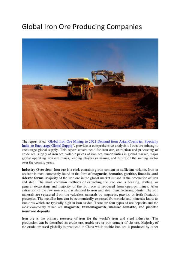 Global Iron Ore Producing Companies