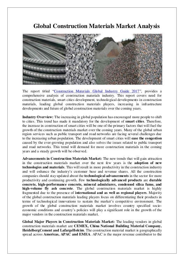 Ken Research - Global Construction Materials Market Analysis