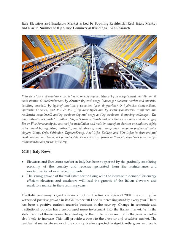 Ken Research - Italy Elevators and Escalators Industry Research