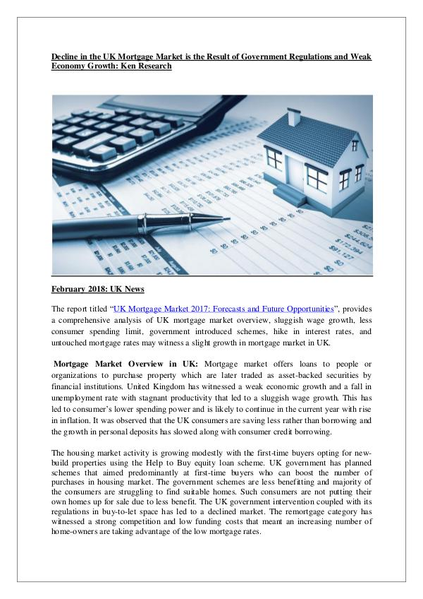 Ken Research - UK Mortgage Market 2017 Forecasts and Future Oppor