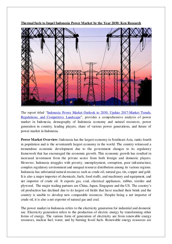 Indonesia Power Market Outlook