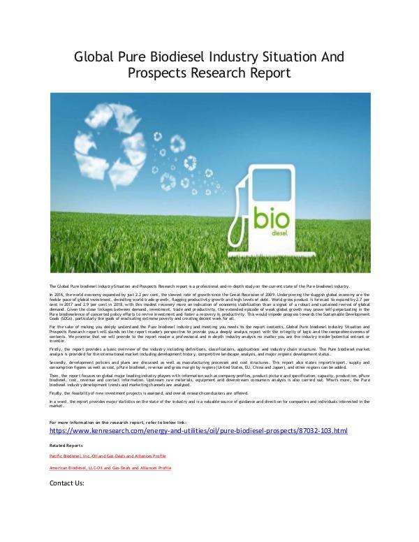 Global Biodiesel Market Research Report
