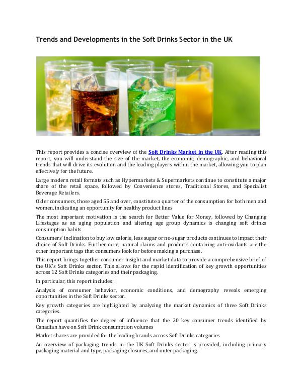 UK Soft Drinks Market Industry Developments