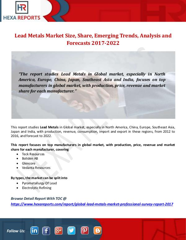 Lead Metals Market Size, Share, Emerging Trends, A