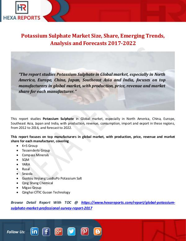 Potassium Sulphate Market Size, Share, Emerging Tr