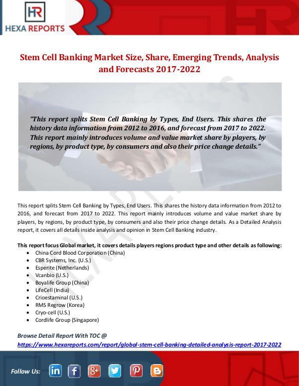 Hexa Reports Stem Cell Banking Market Size, Share, Emerging Tre