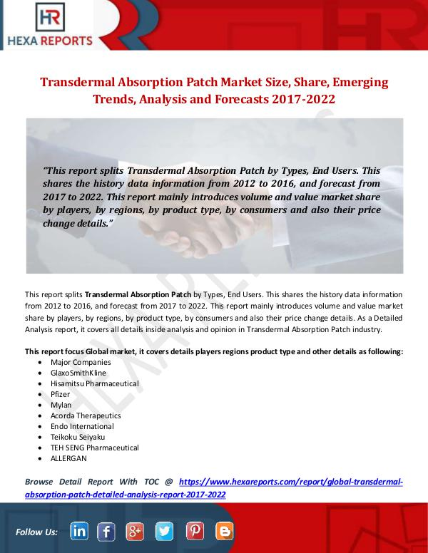 Transdermal Absorption Patch Market Size, Share, E