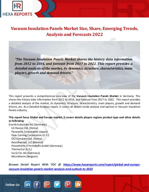 Hexa Reports Vacuum Insulation Panels Market Size, Share, Emerg