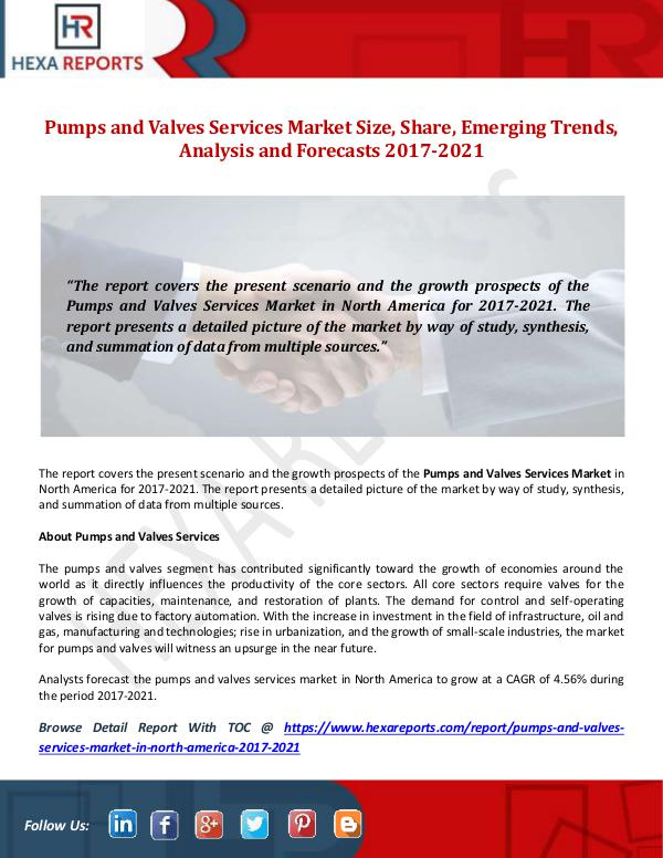 Hexa Reports Pumps and Valves Services Market Size, Share, Emer