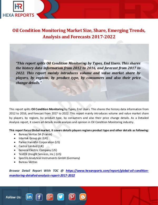 Hexa Reports Oil Condition Monitoring Market Size, Share, Emerg