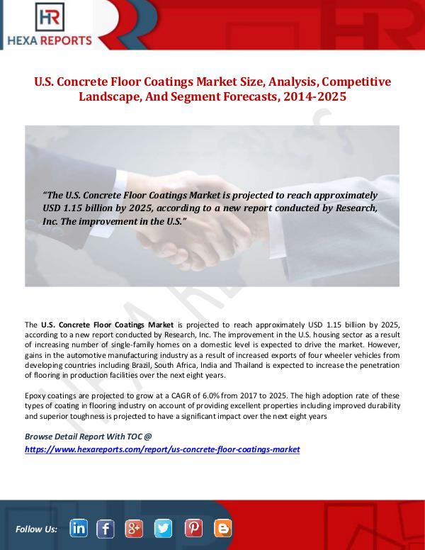 Hexa Reports U.S. Concrete Floor Coatings Market Size, Analysis