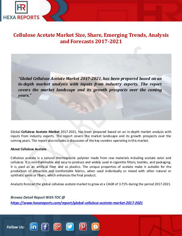 Hexa Reports Cellulose Acetate Market  Size, Share, Emerging Tr