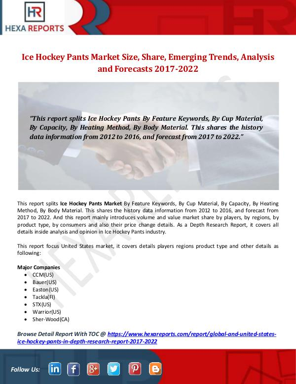 Hexa Reports Ice Hockey Pants Market Size, Share, Emerging Tren