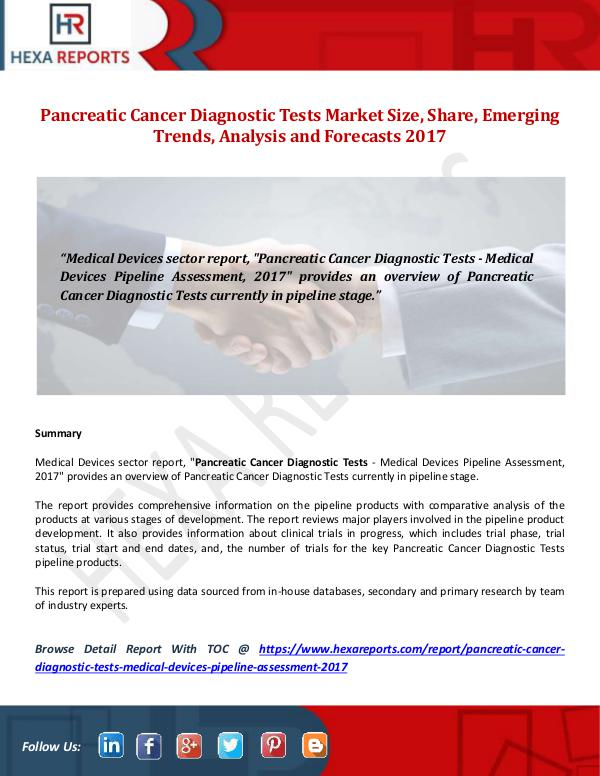 Hexa Reports Pancreatic Cancer Diagnostic Tests Market Size, Sh