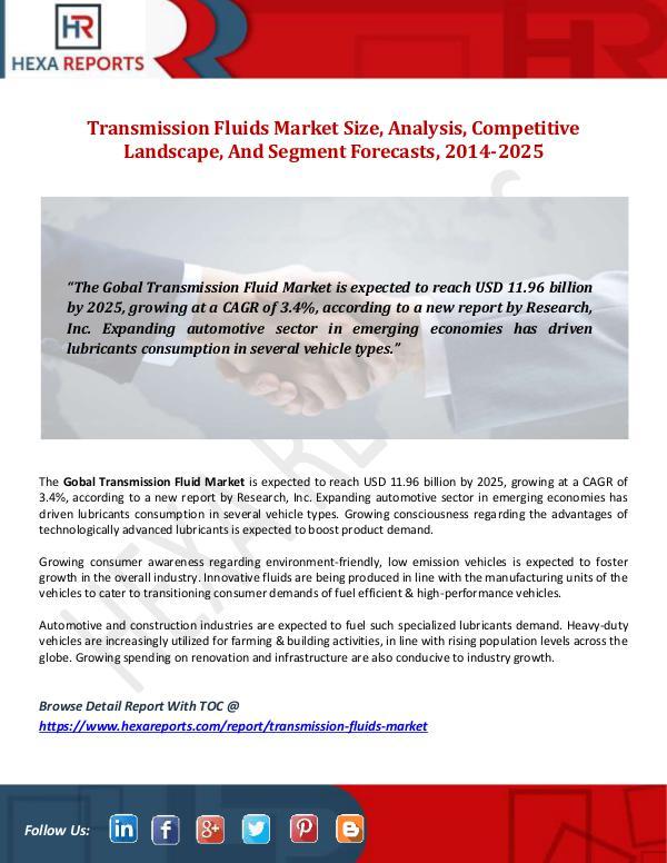 Transmission Fluids Market Size, Analysis, Competi