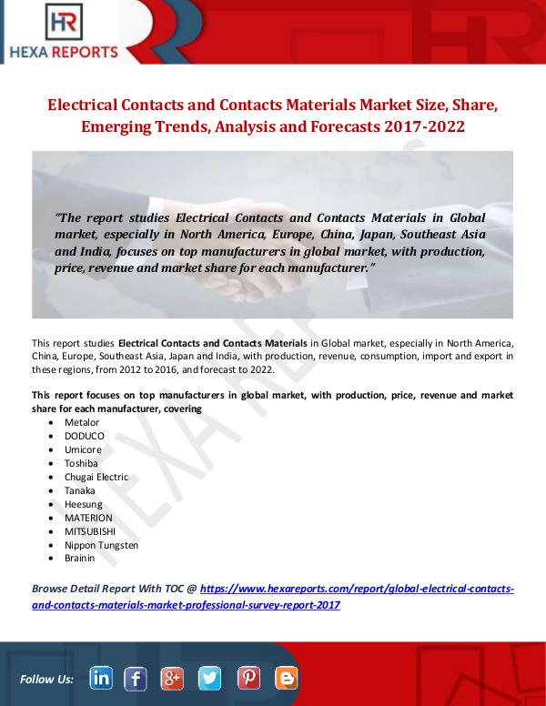 Hexa Reports Electrical Contacts and Contacts Materials Market